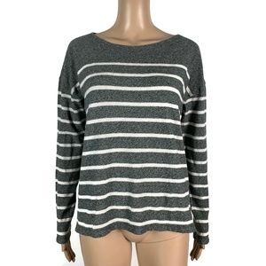 J Crew Deck-striped T-shirt Gray White